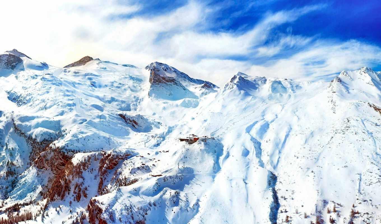горы, снег, альпы, winter, деревья, снежные, landscape,