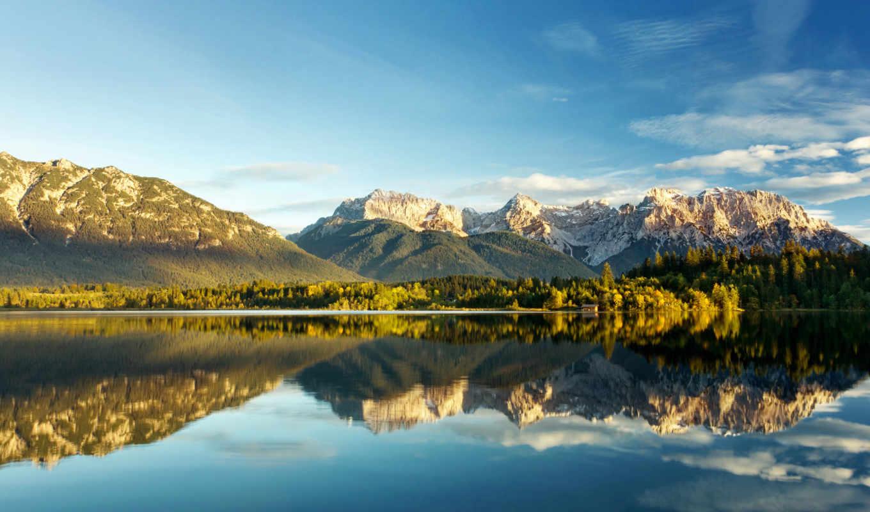 озеро, горы, отражение, деревя, природа,