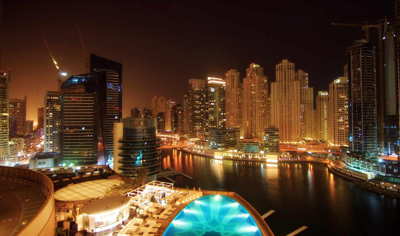 города, город, dubai, ночного, ночь, огни, дома, разрешения, городов, здания, бассейн,