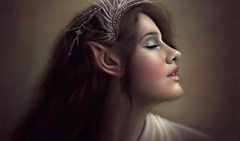 эльфийка, art, уши, profile, эльф, дух, sakimichan, девушка,