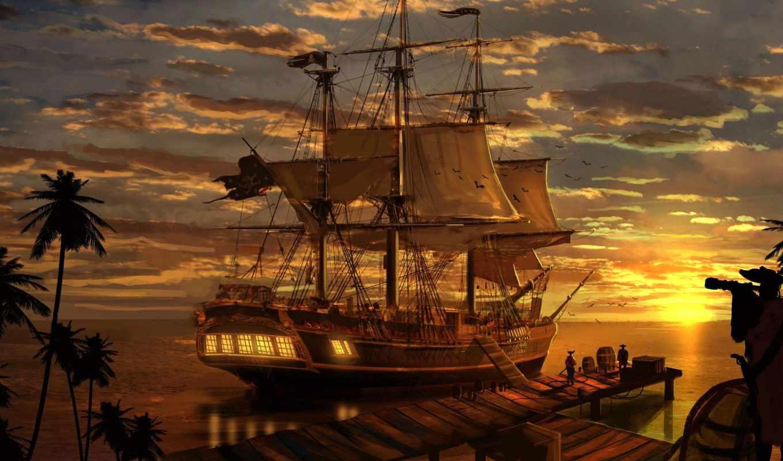 море, корабль, пиратский, закат, bay, пиратский, фоны, заставки, новинки, страница,