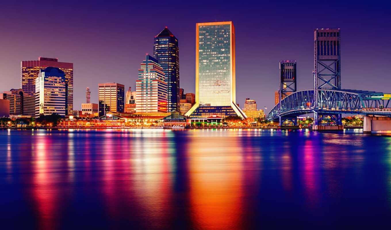 ночь, florida, город, сша, tampa, стена, urban, побережье