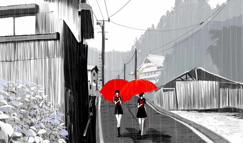 аниме, девушка, обои, девушки, под, зонтики, улица
