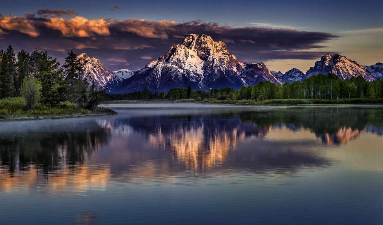 ,горы,лес,озеро,закат,