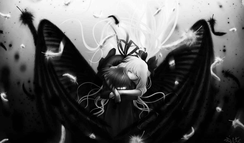 black, white, , angel, boy, wings, girl,
