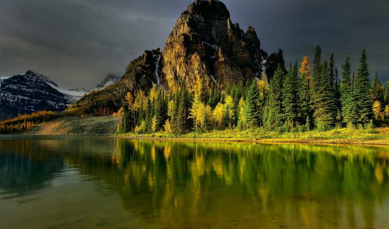 ,гора,озеро,лес, небо,