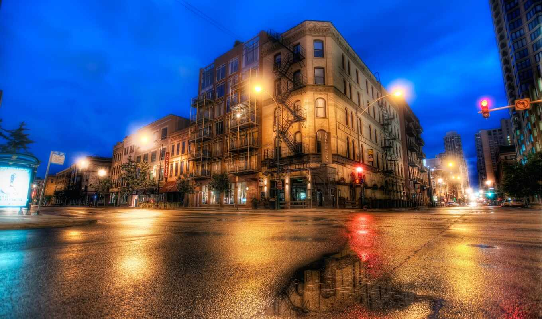 улица, chicago, иллинойс, москва, вечер, огни, город, улицы,