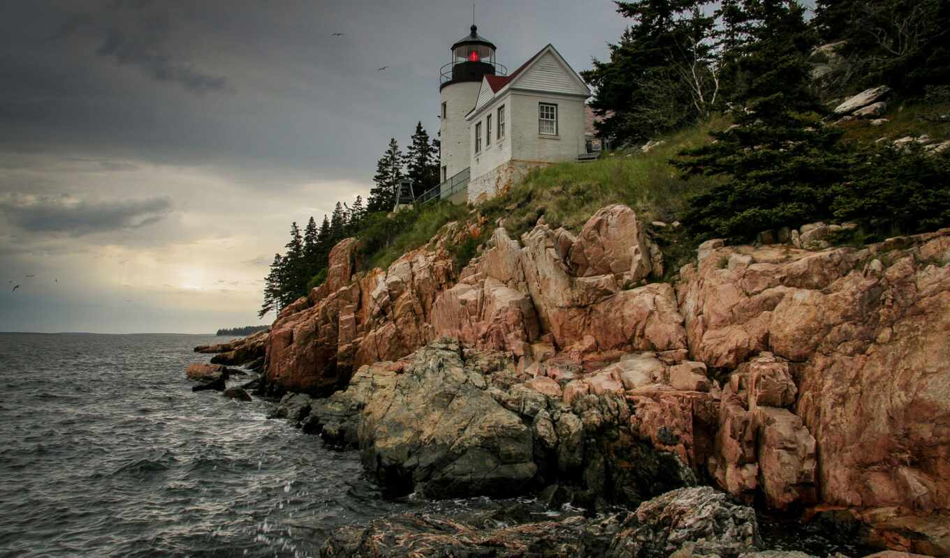 сша, state, мэн, united, states, маяк, lighthouse, bass, сенбернар,