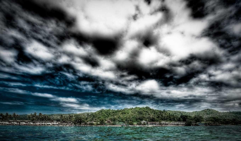 пасмурный, погода, море, природа, облако, небо, день, scene