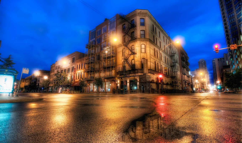 улица, chicago, иллинойс, вечер, город, hdr, улицы, usa, взгляд, вид,