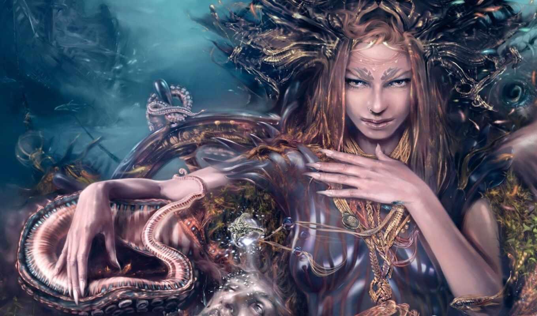 fantasy, goddess, god, bottom, ocean, окно, осьминог, властительница, который, water