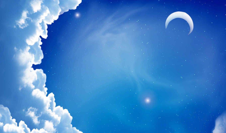 небо, луна, солнце , скачать обои