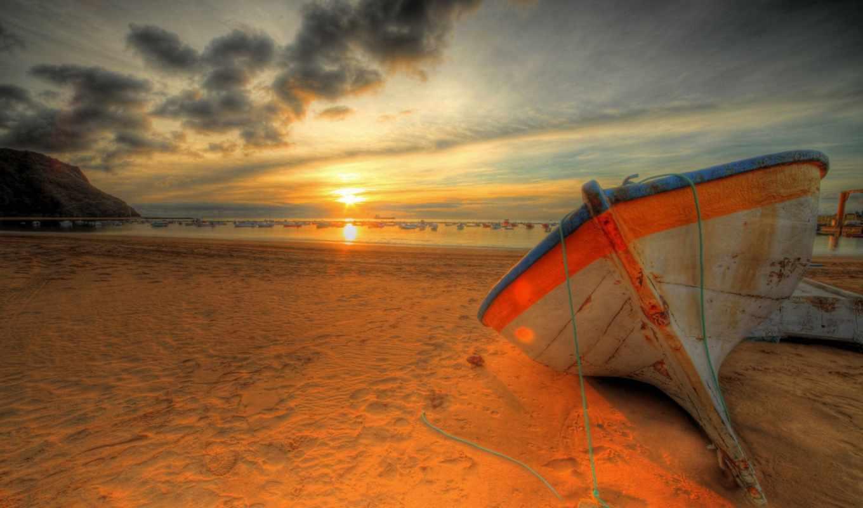 закат, море, пляж, облака, волны,