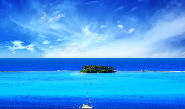 море, остров, красивые, пейзажи -, небо, моря,