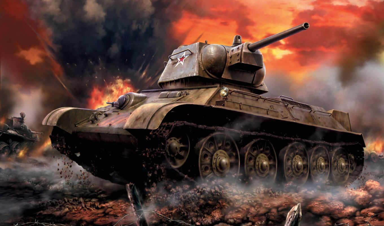 ,танк,т-34,взрыв,огонь,бой,