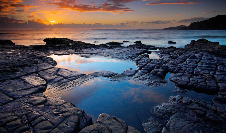 tapety, skały, pulpit, słońca, morze, zdarma, darmowe, plochu, zachód,