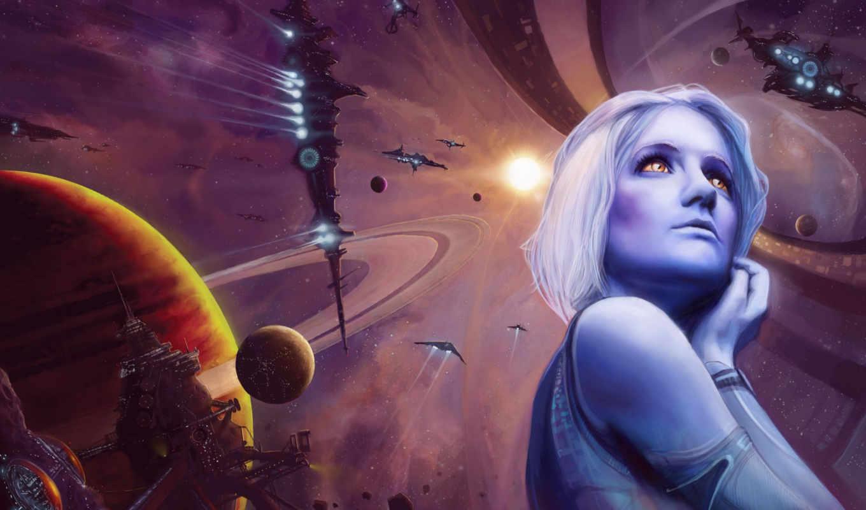 девушка, корабль, планеты, космос, planet, fantasy, корабли, cosmos, звездолёт,
