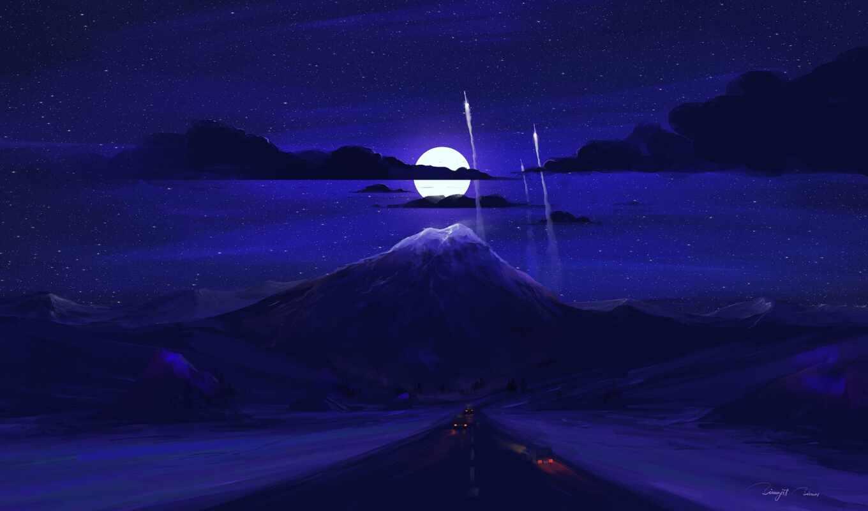 гора, ночь, art, луна, dark, дорогой, облако, дорога, car, арта, minimal