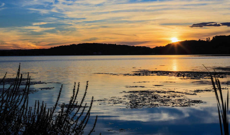 солнце, закат, лес, озеро,