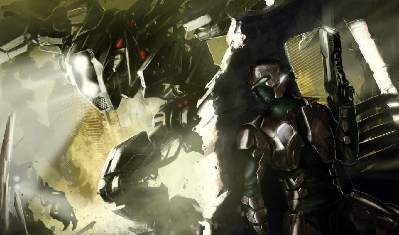 robot, свет, руины, город, броня, оружие, sci, воин,