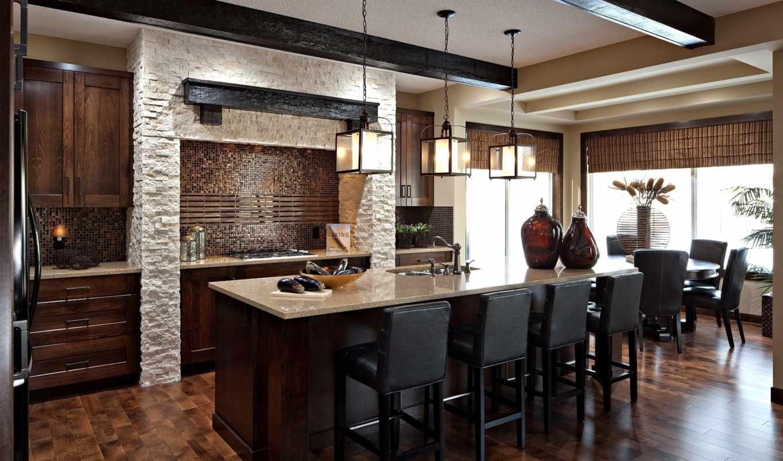 кухни, design, kitchen, интерьер, дерева, марта, темной, темного,
