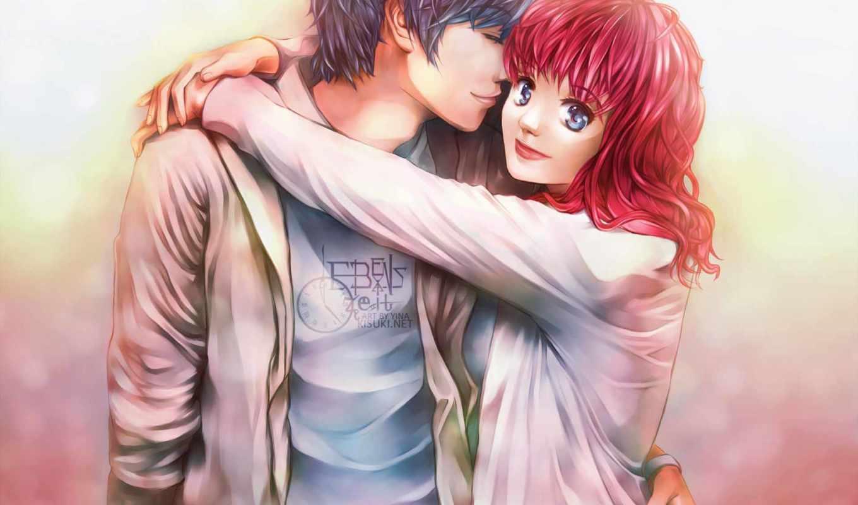обнимает, девушка, парень, leben, свет, красные, волосы,