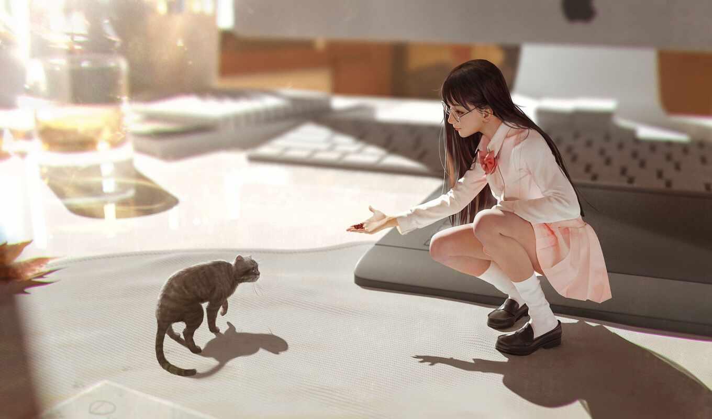 девушка, anim, sit, кот, point, фронтовой, give, пол, динозавр, arm