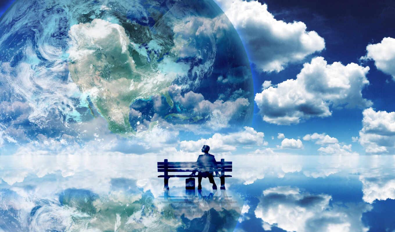 обои, небеса, душа, облака, солнце, время, тень, н