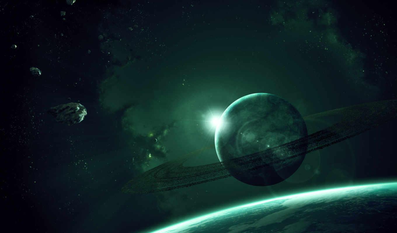 планета, кольца, астероиды, гигант, газовый, звезды,