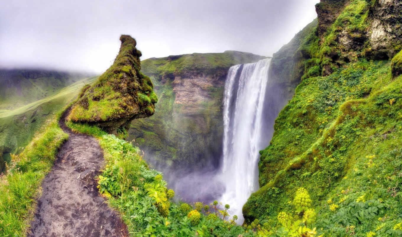природа, горы, пейзаж, река, водопад,
