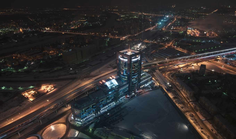 москва, город, ночь, вид, взгляд, первую,