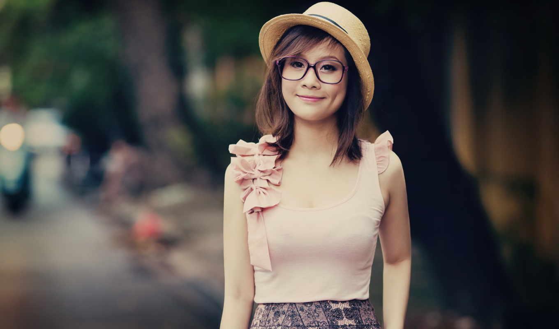 девушка, asian, очки, шапка, fashion, платье, фото,