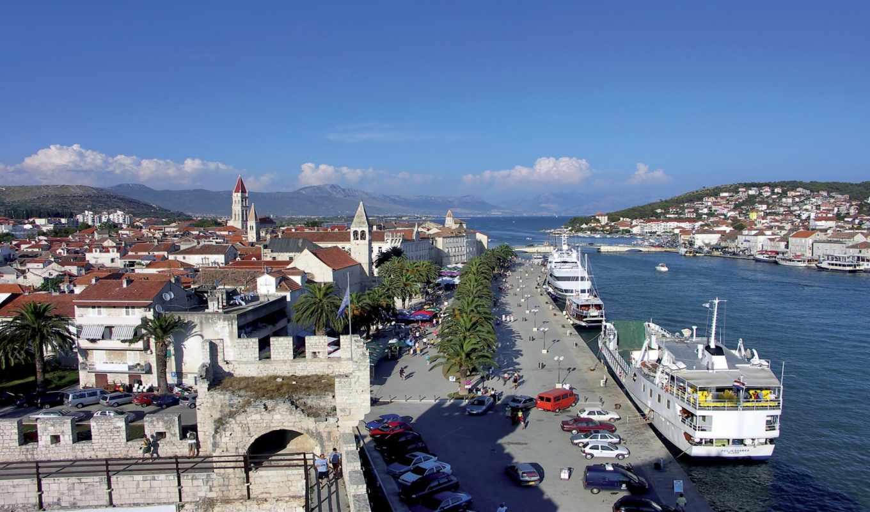 трогир, хорватия, причал, корабль, природа, взгляд, море, города, небо,
