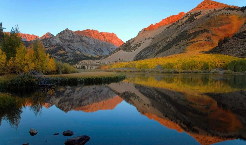 осень, озеро, лес, горы,