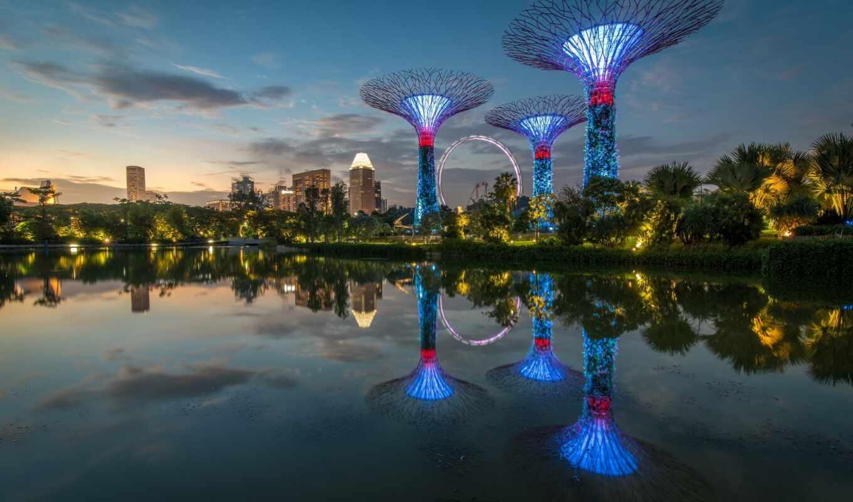 отражение, singapore, bay, марина, песок, architecture, небоскрёб, water, небо, hotel, build