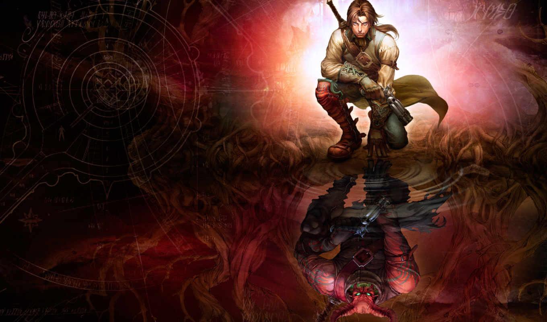 game, картинку, игры, воин, магия, отражение, фентези, fable,