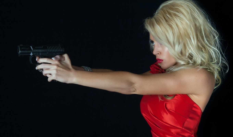 девушка, пистолет, ситуация,