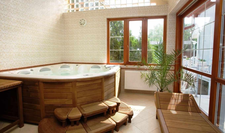 комнаты, ванной, jacuzzi, with, дизайн, работ, выполненных, интерьер, spa, наших, фотографии, необычный, голубой, outdoor,