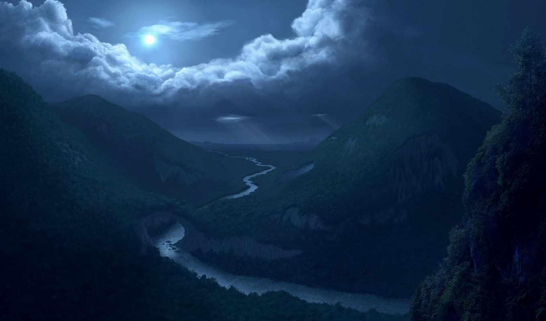 ночь, лунная, луна,