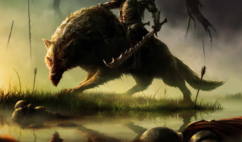 wolves, fantasy, коллекция, волк, воин, верхом,