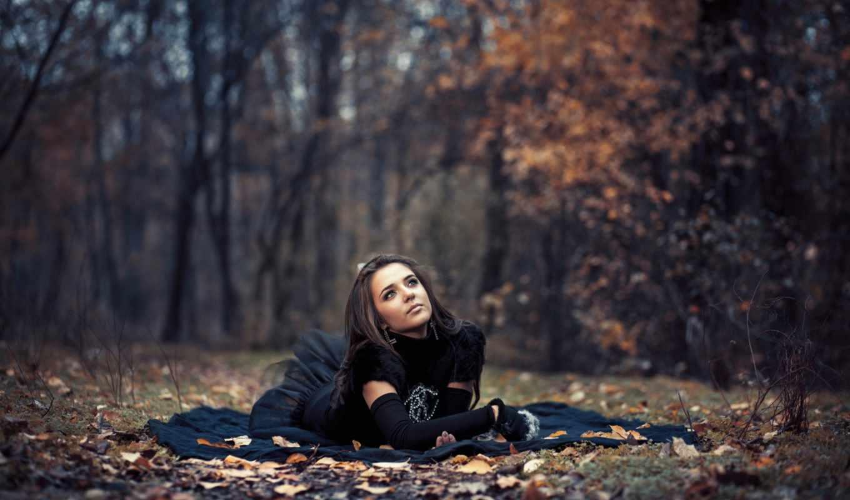 осень, девушка, платье, листва, лес, боке, ситуации,
