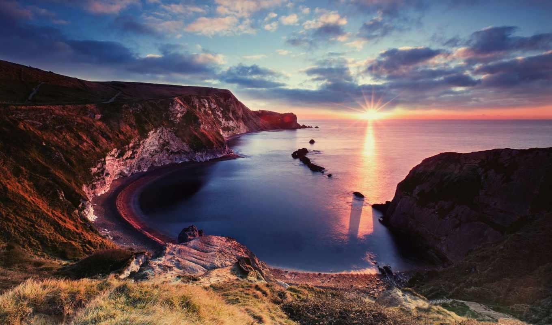 взгляд, красивый, море, горы, морем, со, рассвет, landscape, побережье, закат,