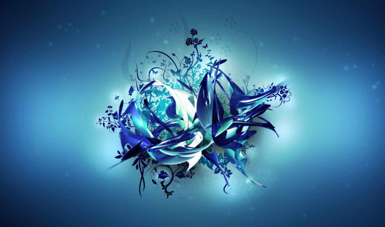 vector, blue, flower, узор, abstract, desktop, windows,