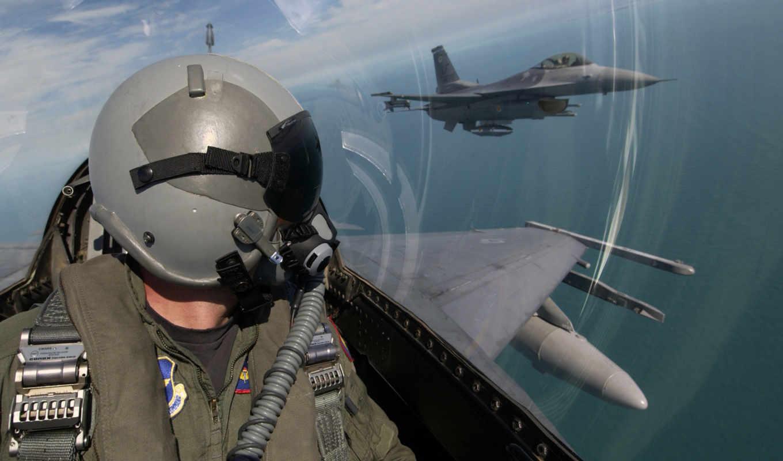 авиация, небо, шлем, самолёт, кабина, пилот, облака, военный,