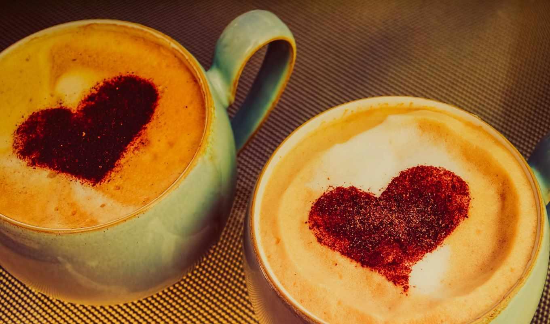 сердце, кофе, чашка, пенка