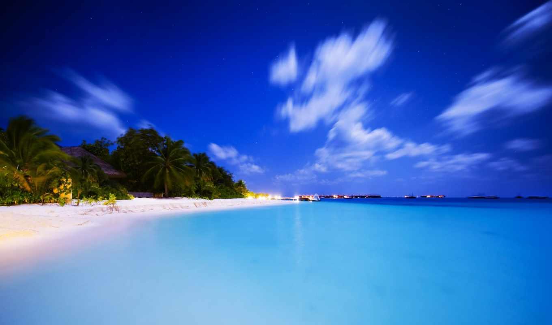 природа, тропики, пляж, пальмы, океан, горы, красиво, отдых, · природа,