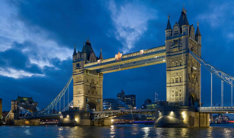 мост, london, башня, тауэрский, ук, города, картинка,