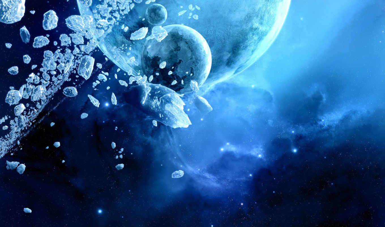 планеты, столкновение, синий, ice, space, planets,