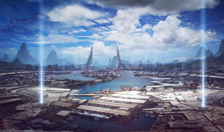 дождь, огни, будущее, город, летательный аппарат