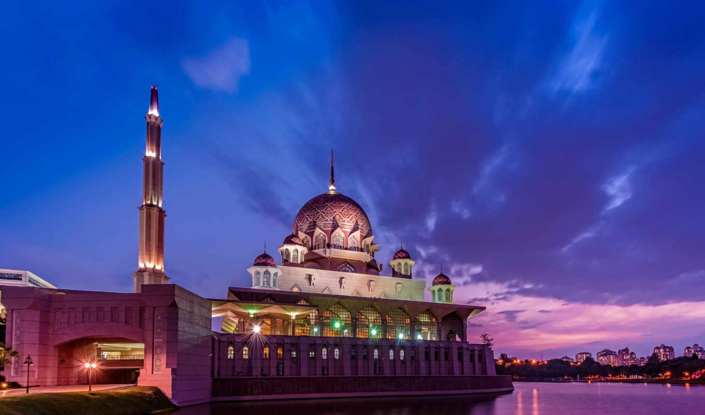 malaysia, putrajaya, закат, clouds, небо, mosque,